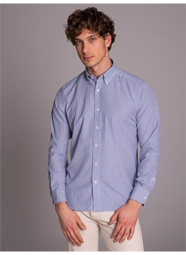 Dufy Sıyah Çızgılı Erkek Gömlek - Regular Fıt Mavi